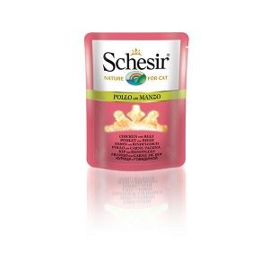 Boîte Chat - Sachet fraîcheur Schesir® Poulet Boeuf + bouillon 70 g