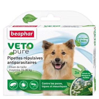 Pipettes antiparasitaires chien Beaphar® 15-30kg x3 155990