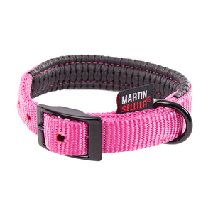 Collier droit Confort pour chien coloris rose - 1,6x35 cm 170230