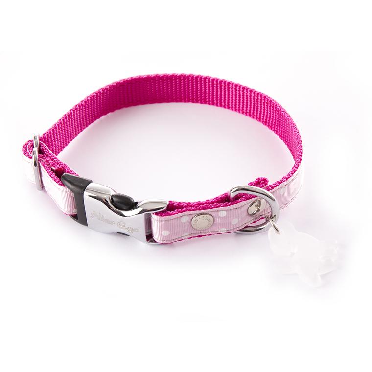 Collier Pois pour chien coloris rose - S 120239