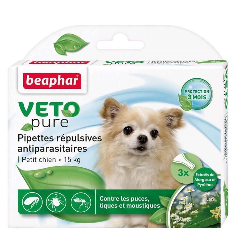 Pipettes antiparasitaires pour chien moyen 2 à 15kg - Beaphar® Veto Pure x3 155991