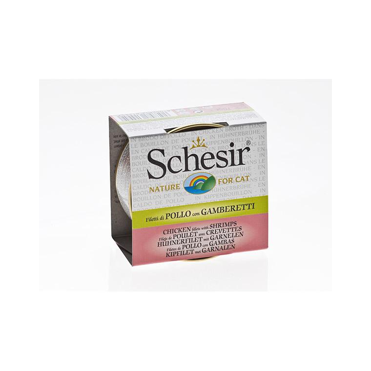 Boîte Chat - Schesir® Poulet Crevettes + bouillon 70 g 159205