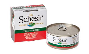 Boîte Chien - Schesir® Pâtée aux Filets de Poulet et Bœuf en Gelée - 150g 164085