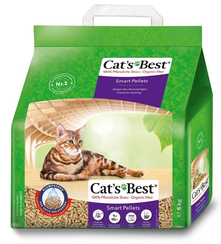 Litière végétale agglomérante pour chat Cat's Best Smart Pellets 5kg