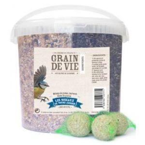 Seau mélange de graines, tournesol, boules de graisse pour oiseaux