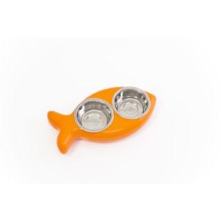 Gamelle double pour chat - The Fish - Orange 201906