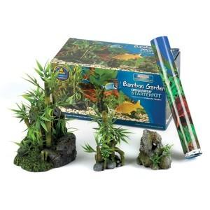 Kit démarrage aquarium déco Bambou 4 décors 277149
