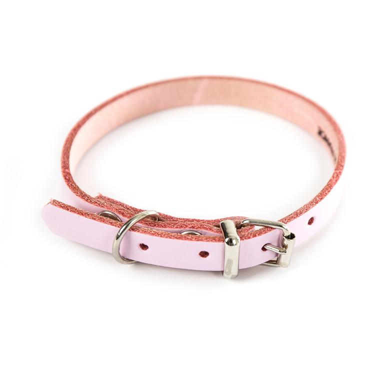 Collier en cuir rose pour chien 1,2x33 cm 280011