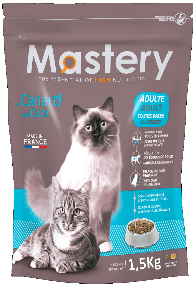 Croquettes Chat - Mastery adulte Canard 1,5kg