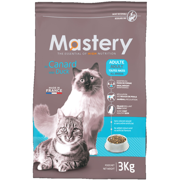 Croquette chat Mastery adulte Canard 3kg