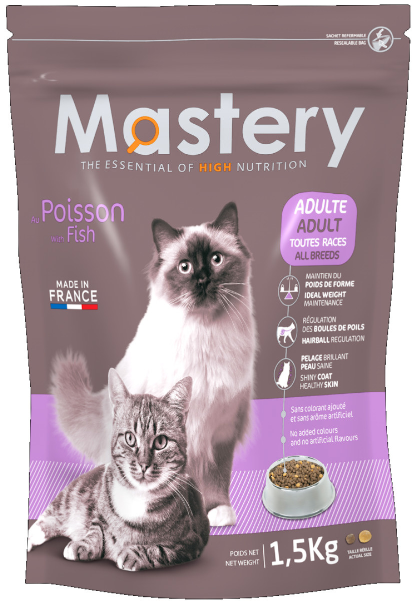 Croquettes Chat - Mastery adulte Poisson 1,5kg