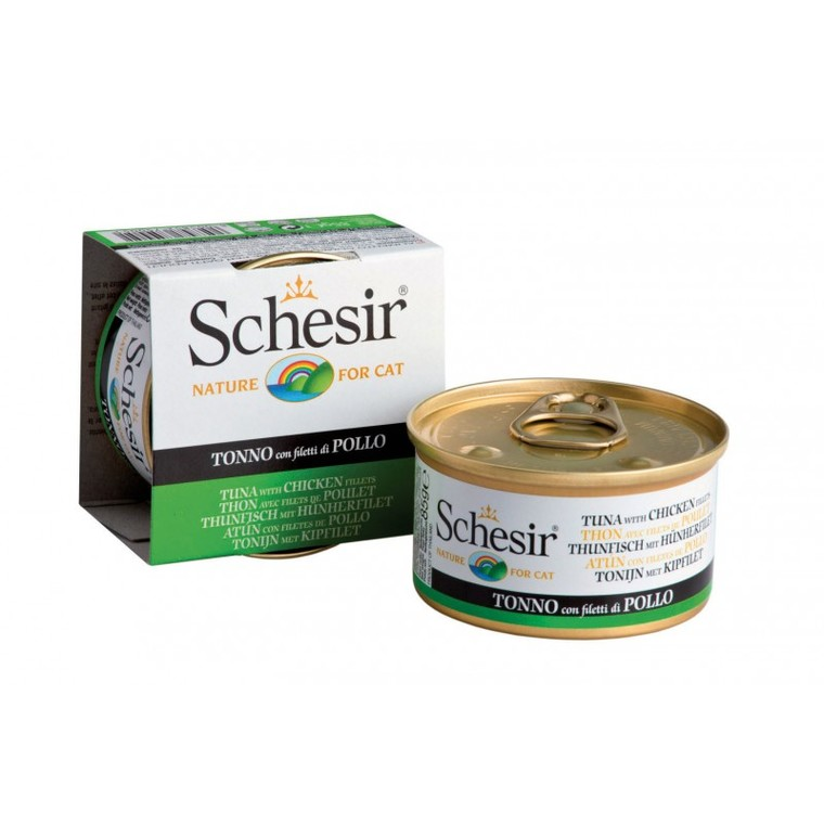 Boîte Chat - Schesir®  Pâtée au Thon, Poulet et Riz au naturel - 85g 340610