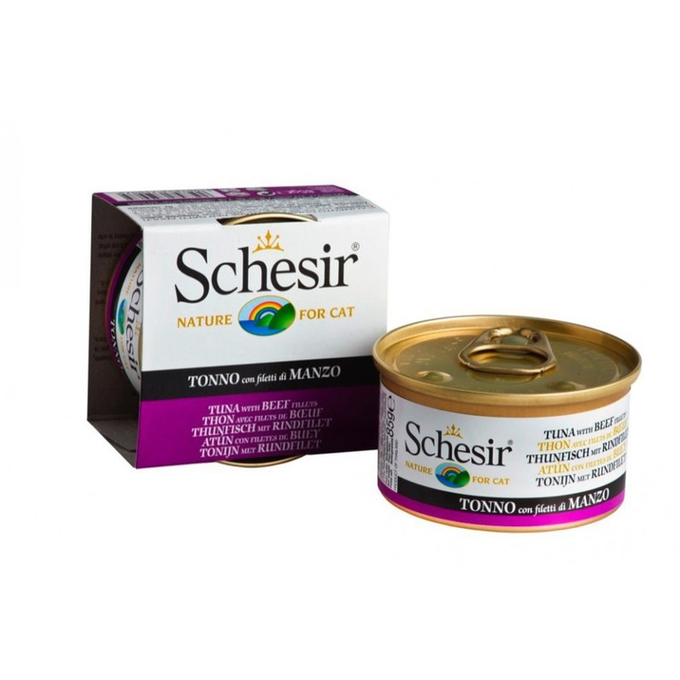 Boîte Chat - Schesir® Pâtée au Thon et  Boeuf - 85g 340611