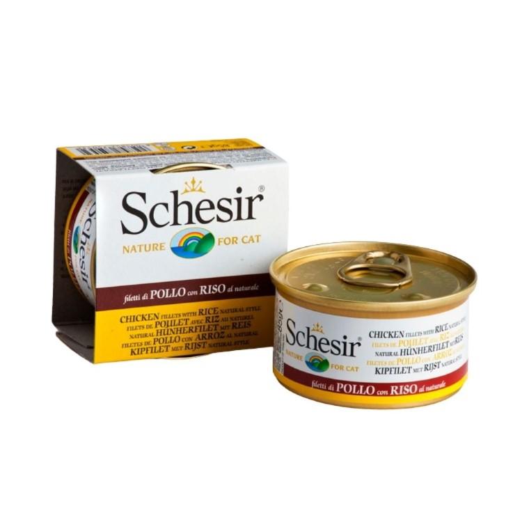 Boîte Chat - Schesir® Filets de poulet et riz au naturel 340613