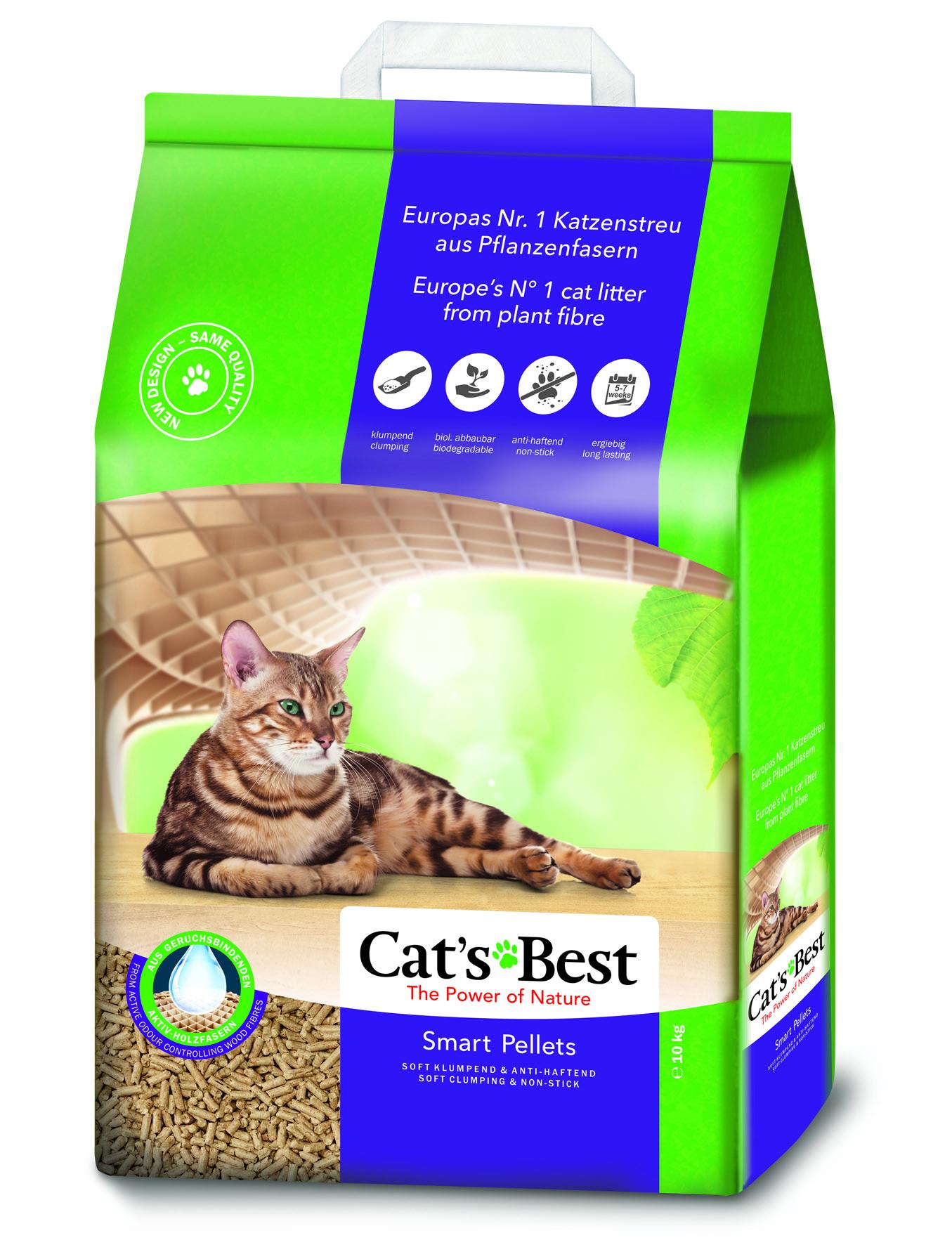 Litière végétale agglomérante pour chat Cat's Best Smart Pellets 10kg