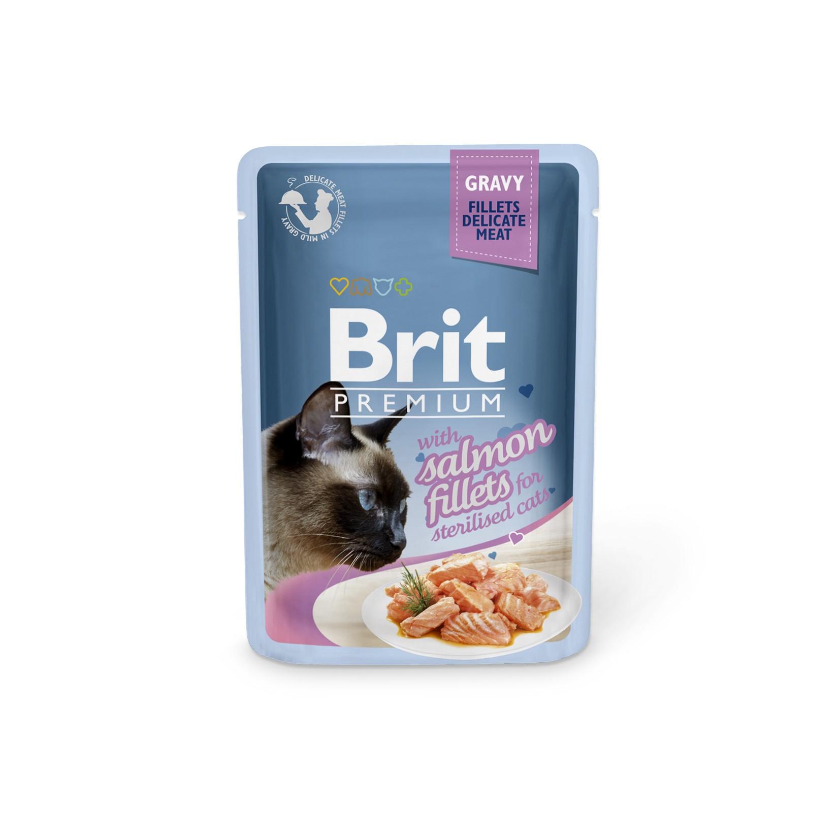 Boîte Chat - Brit Premium Pouches Gravy au Saumon pour Chat stérilisé