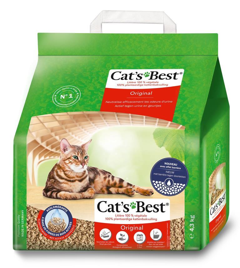 Litière végétale agglomérante pour chat Cat's Best Original 10L - 4,3kg