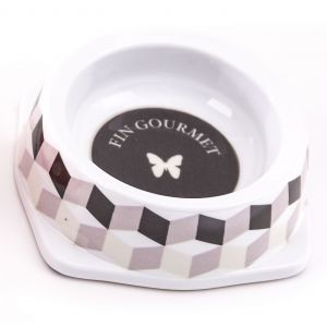 Gamelle melamine chat 150 ml Cube Noir/Gris 404796