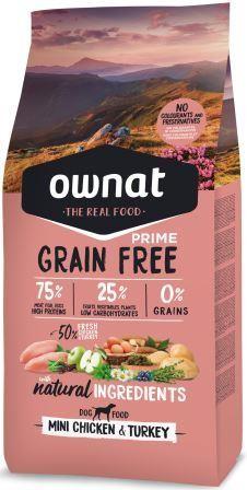 Croquettes Chien - Ownat Grain Free Prime Adulte Mini sans céréales Dinde & Poulet 1kg 413863