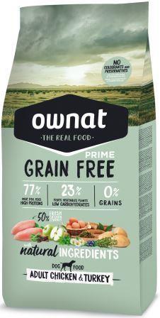 Croquettes Chien - Ownat Grain Free Prime Adulte sans céréales Dinde & Poulet - 14kg 413866