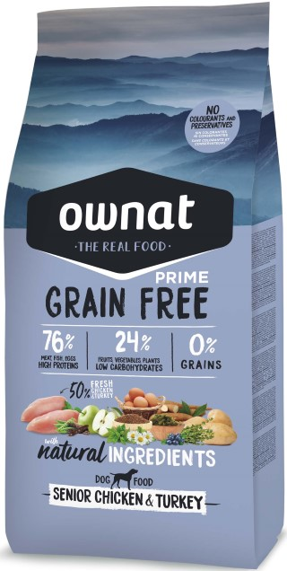 Croquettes Chien - Ownat Grain Free Prime Senior sans céréales Dinde & Poulet 14kg 413868