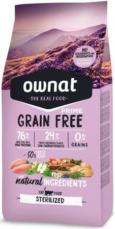 Croquettes Chat - Ownat Grain Free Prime Adulte stérilisé sans céréales - Dinde & Poulet 8kg 413874