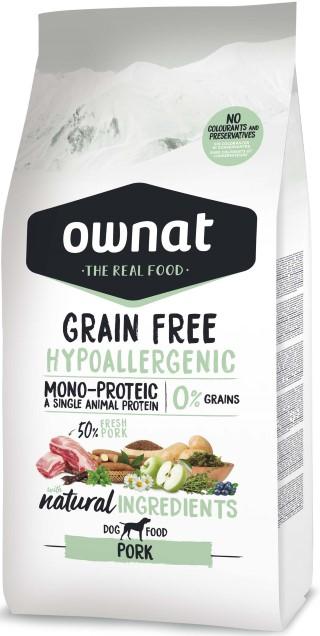 Croquettes Chien - Ownat Grain Free Hypoallergenic Adulte sans céréales Porc - 14kg 413887