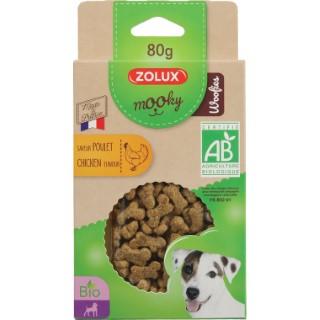 Friandises pour chien Mooky bio woofies au poulet en étui de 80 g 416054