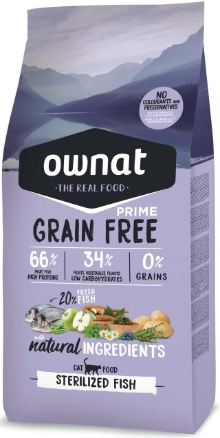 Croquettes Chat - Ownat Grain Free Prime Adulte Stérilisé Poisson 1kg 417013