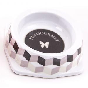 Gamelle melamine chat 150 ml Cube Noir/Gris 404796