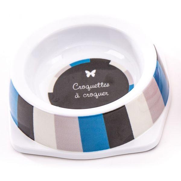 Gamelle melamine chien 450 ml Rayé Bleu/Gris 404802