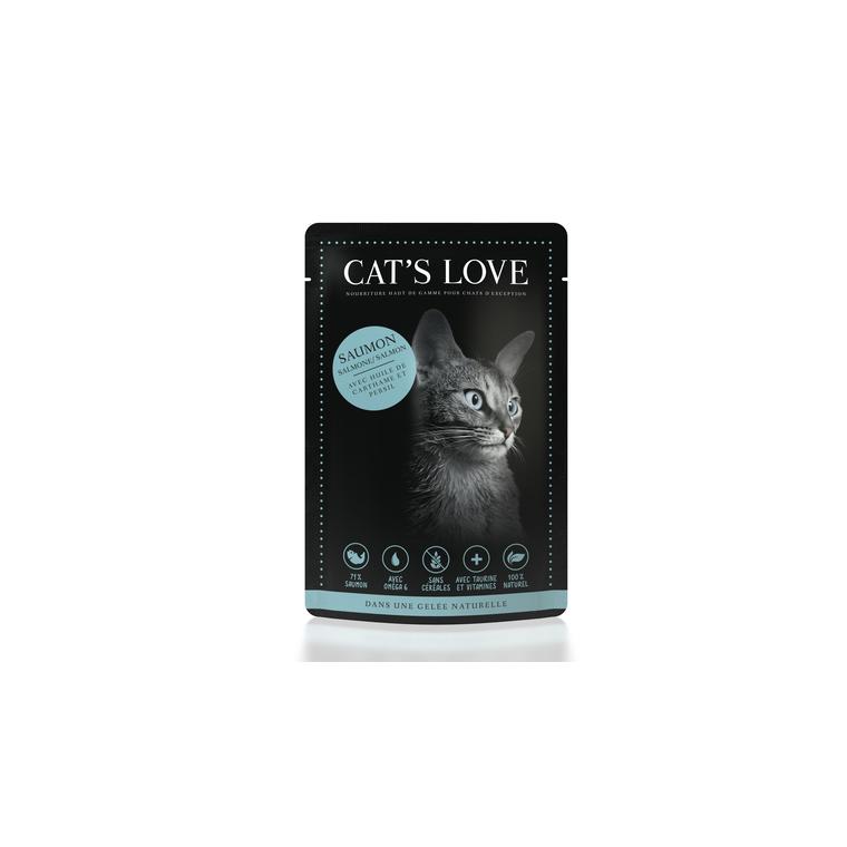 Boîte Chat -  Sachets repas Cat's Love au saumon 85gr 413529