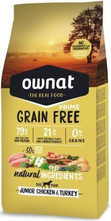 Croquettes Chiot - Ownat Grain Free Prime Junior sans céréales Dinde & Poulet 14kg 413858