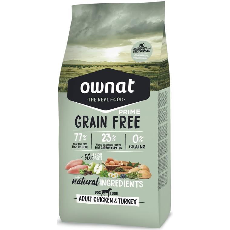 Croquettes Chien - Ownat Grain Free Prime Adulte sans céréales Dinde & Poulet 14kg 413866