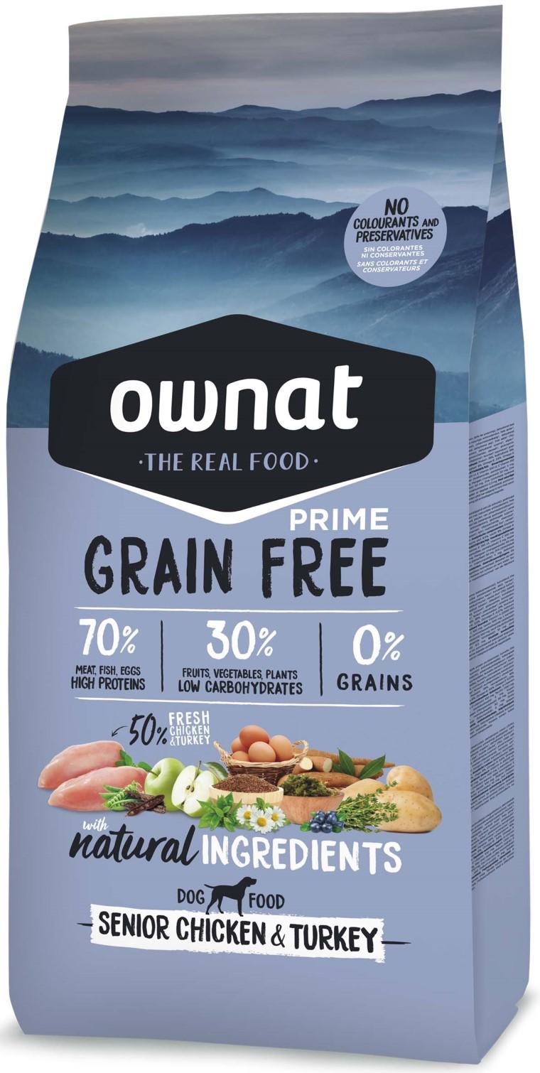 Croquettes Chien - Ownat Grain Free Prime Senior sans céréales Dinde & Poulet 3kg 413867