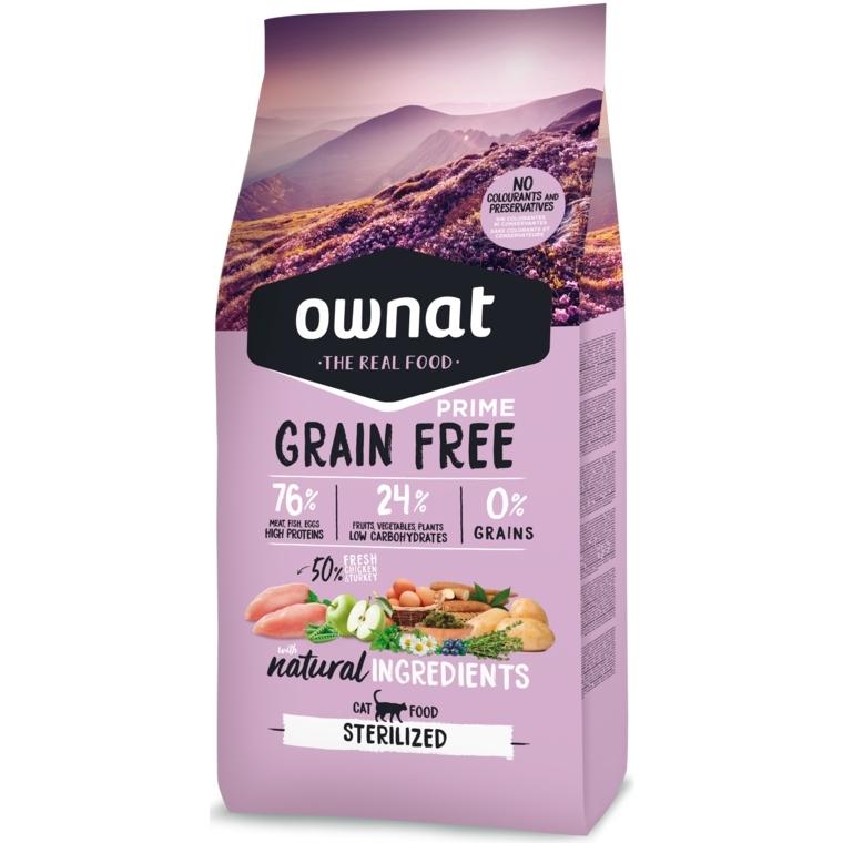 Croquettes Chat - Ownat Grain Free Prime Adulte stérilisé sans céréales - Dinde & Poulet 1kg 413872