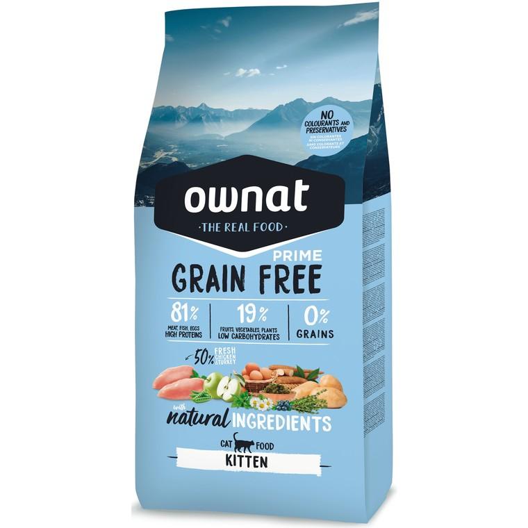 Croquettes Chaton - Ownat Grain Free Prime Dinde & Poulet sans céréales 3kg 413881