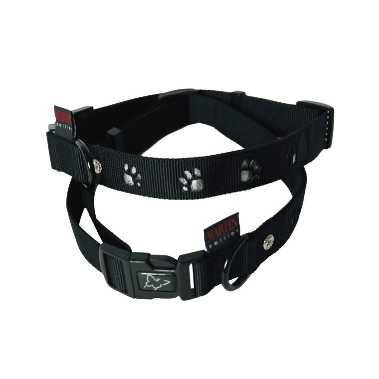 Collier chien pattes 25mm / 45-65cm noir 435744