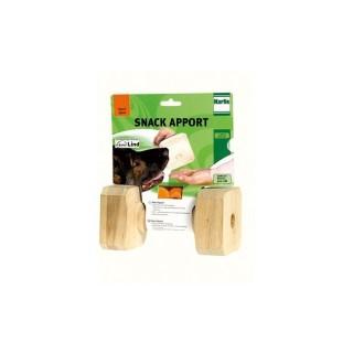 Jouet chien haltère bois Snack apport 19x10cm 573687