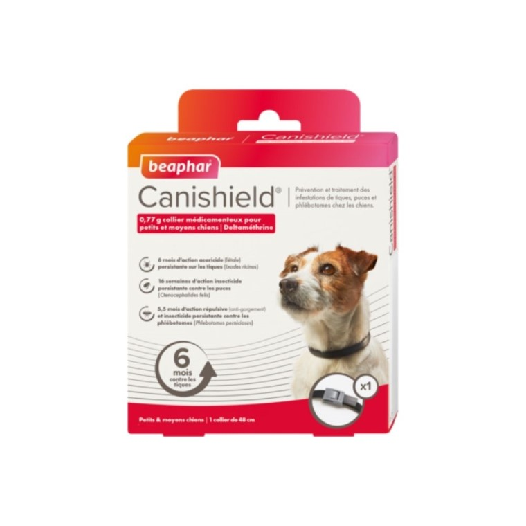 Collier antiparasitaire chien - Beaphar CaniShield - Taille M 48 cm 527516
