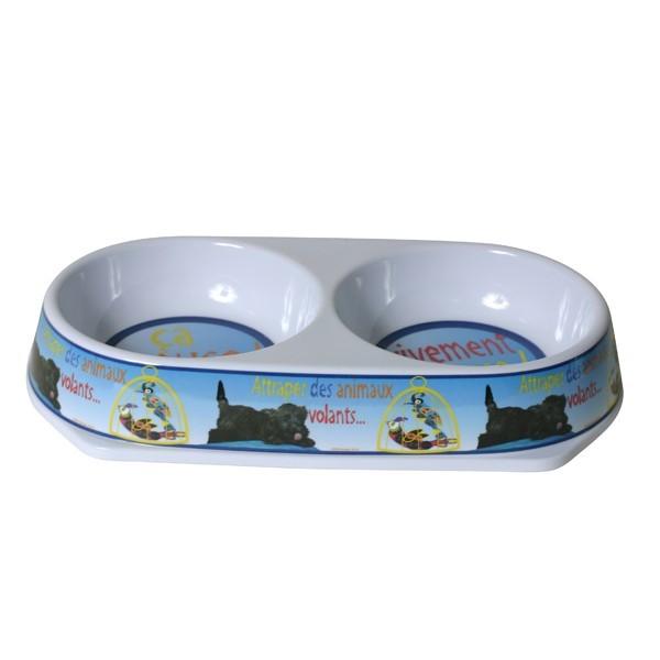 Gamelle chien mélamine double deco 32 cm 558385C01