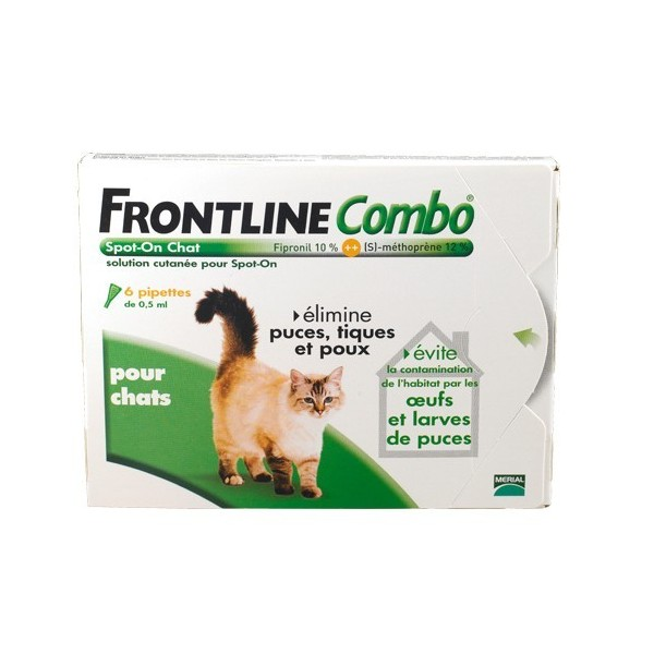 Frontline combo chat pipettes antiparasitaires x6 574275