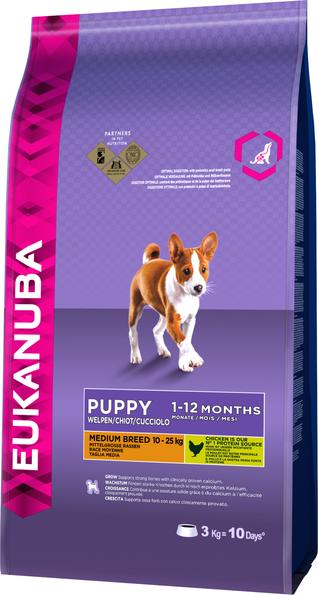 Croquette Chien Eukanuba moyenne race puppy 3 kg 57468