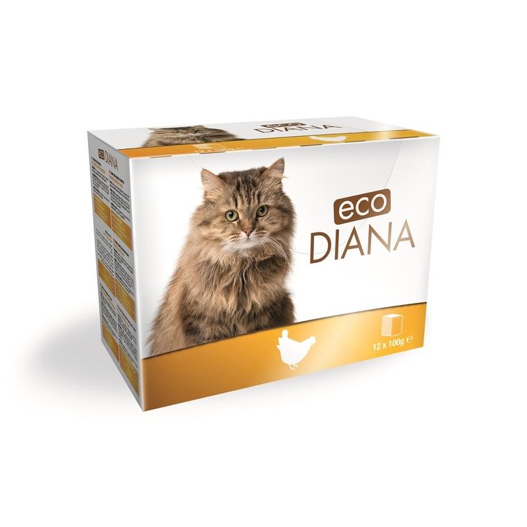 Boite chat - Eco Diana Emincés poulet pochon - 12 x 100gr