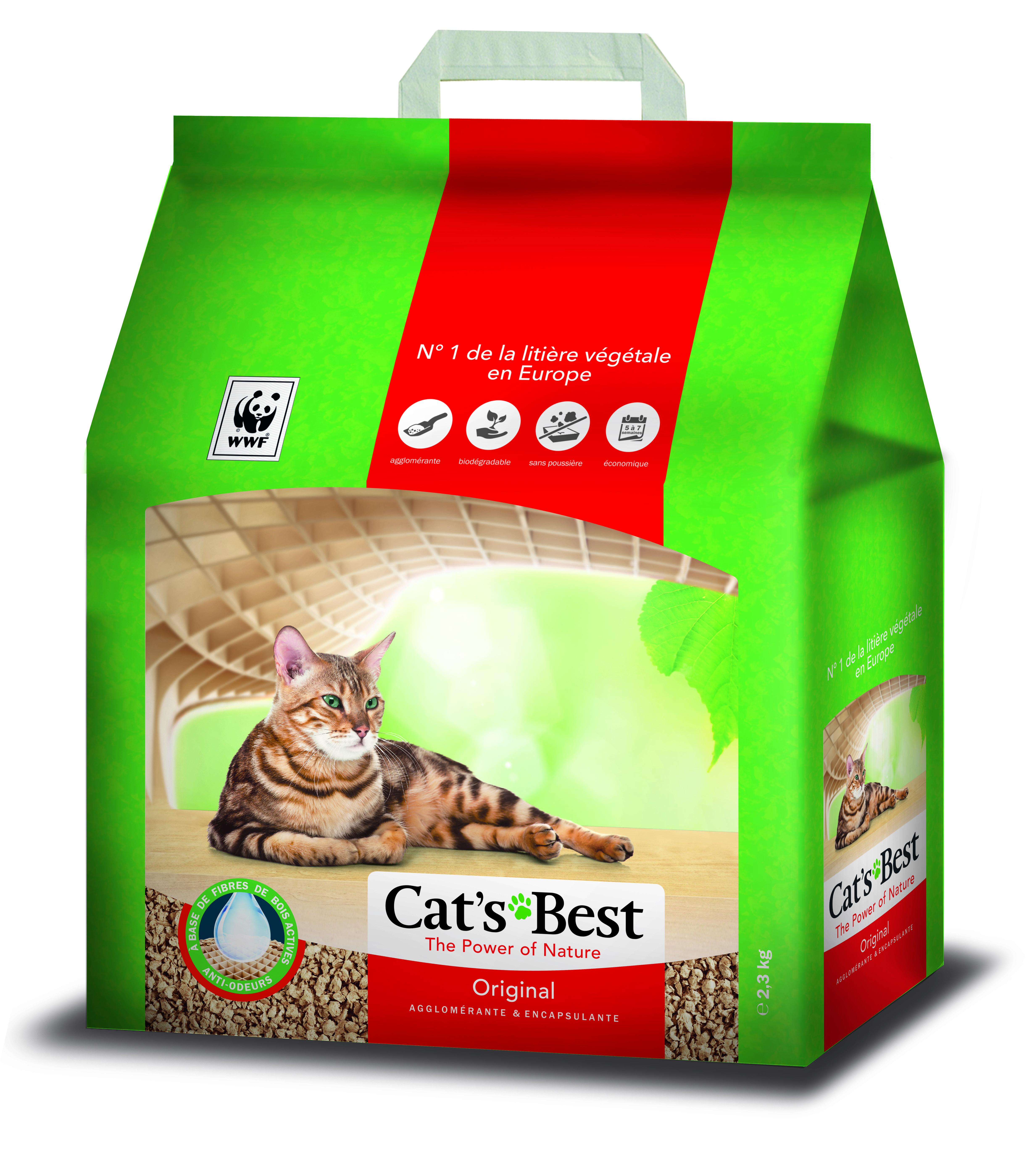 Litière végétale agglomérante pour chat Cat's Best Original 5L - 2,1kg