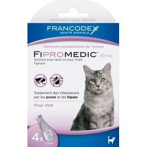 Fipromedic 50mg antiparasitaire pour chats x4 637984