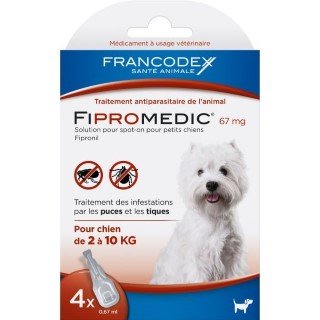 Pipettes antiparasitaires chien Fipromedic 2-10kg x4 637986