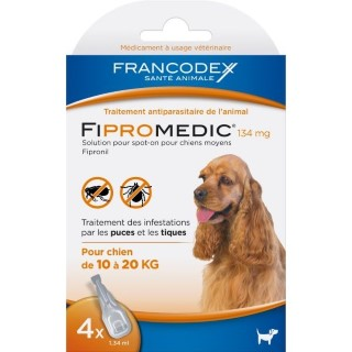 Pipettes antiparasitaires chien Fipromedic 10-20kg x4 637988