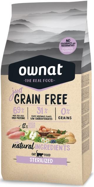 Croquettes Chat - Ownat Grain Free Adulte stérilisé sans céréales 8kg 695978