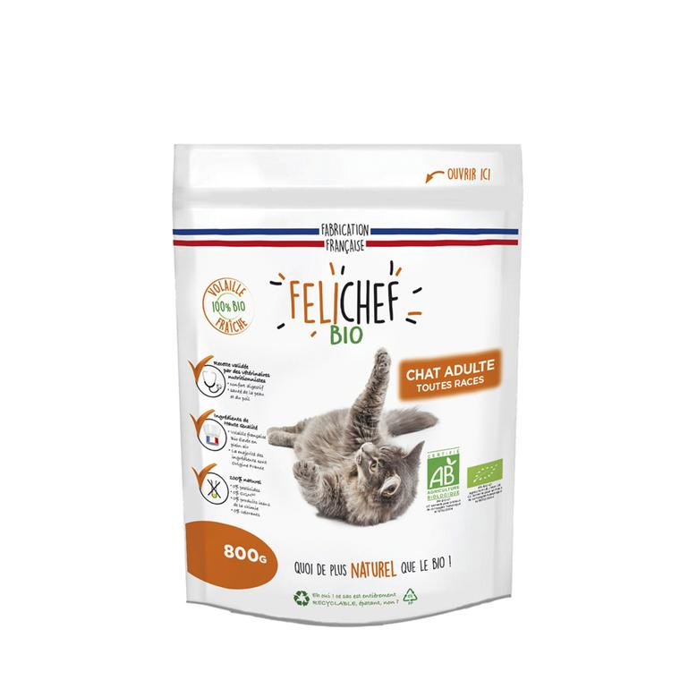 Croquettes Chat - Felichef Bio Adulte 0,8kg 612378